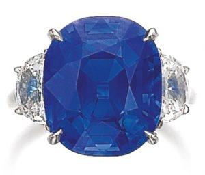 Lot 492 - 10.96-carat, cushion-cut, Kashmir blue sapphire ring