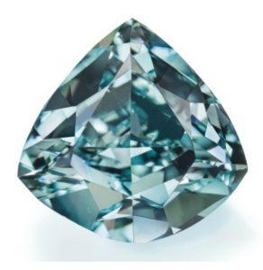 Lot 180 - 5.50-carat, triangular-cut, fancy vivid blue-green Ocean Dream diamond