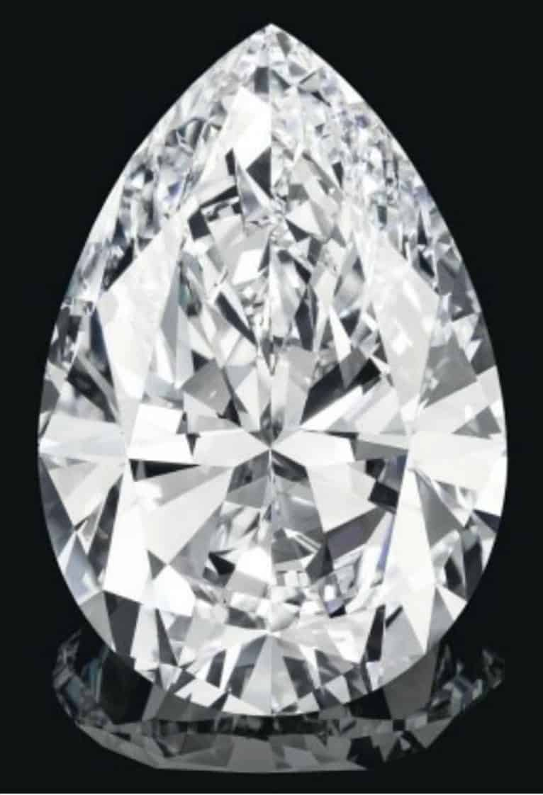 Lot 189 - 75.97-carat, pear-shaped, flawless, D-color diamond