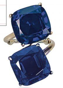 "Lot 175 - Kashmir and Burma Sapphire ""Toi et Moi"" Ring"