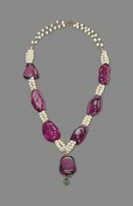 Lot 177 - Rare and Important Spinel Bead and Cultured Pearl Necklace