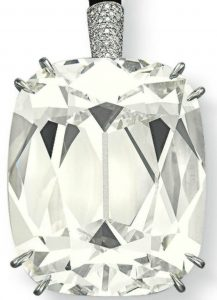 101.36-carat, cushion-cut, L-color, VS2-clarity diamond