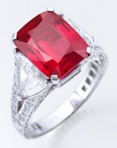 Lot 470 - 8.62carat, cushion-cut, pigeon blood-red Graff Burma ruby ring