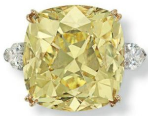 Lot 207 - 36.09-carat, cushion-cut, fancy intense yellow, SI2-clarity   diamond