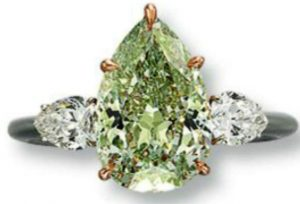 Lot  251 - 3.51-carat, modified pear-shaped,  fancy intense green,  SI1-clarity diamond