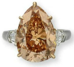 Lot 141 -  9.73-carat, pear-shaped, fancy brown-pink, VS1-clarity diamond