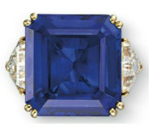 Lot 244 - 22.97-carat, rectangular-cut, Burma blue sapphire ring