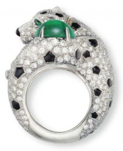 Lot 47 - Emerald, diamond and onyx panther ring by Cartier