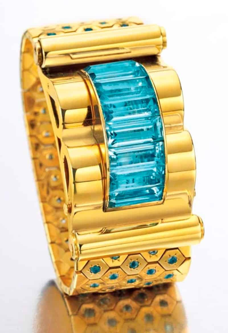 Lot  124 - A Retro Aquamarine and Gold Ludo Hexagone Bracelet Watch by Van Cleef & Arpels