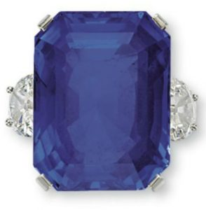 Lot 83 - A Ceylon blue sapphire and diamond ring by Tiffany & Co.