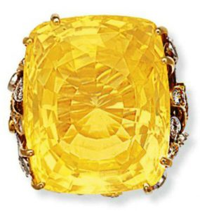 Lot 98 - Ceylon yellow sapphire and diamond ring by David Webb