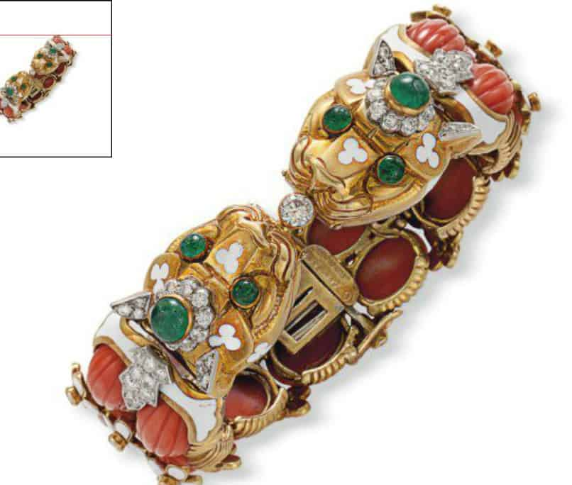 Lot 290 - A Coral, Diamond, Emerald and Enamel Bracelet by David Webb