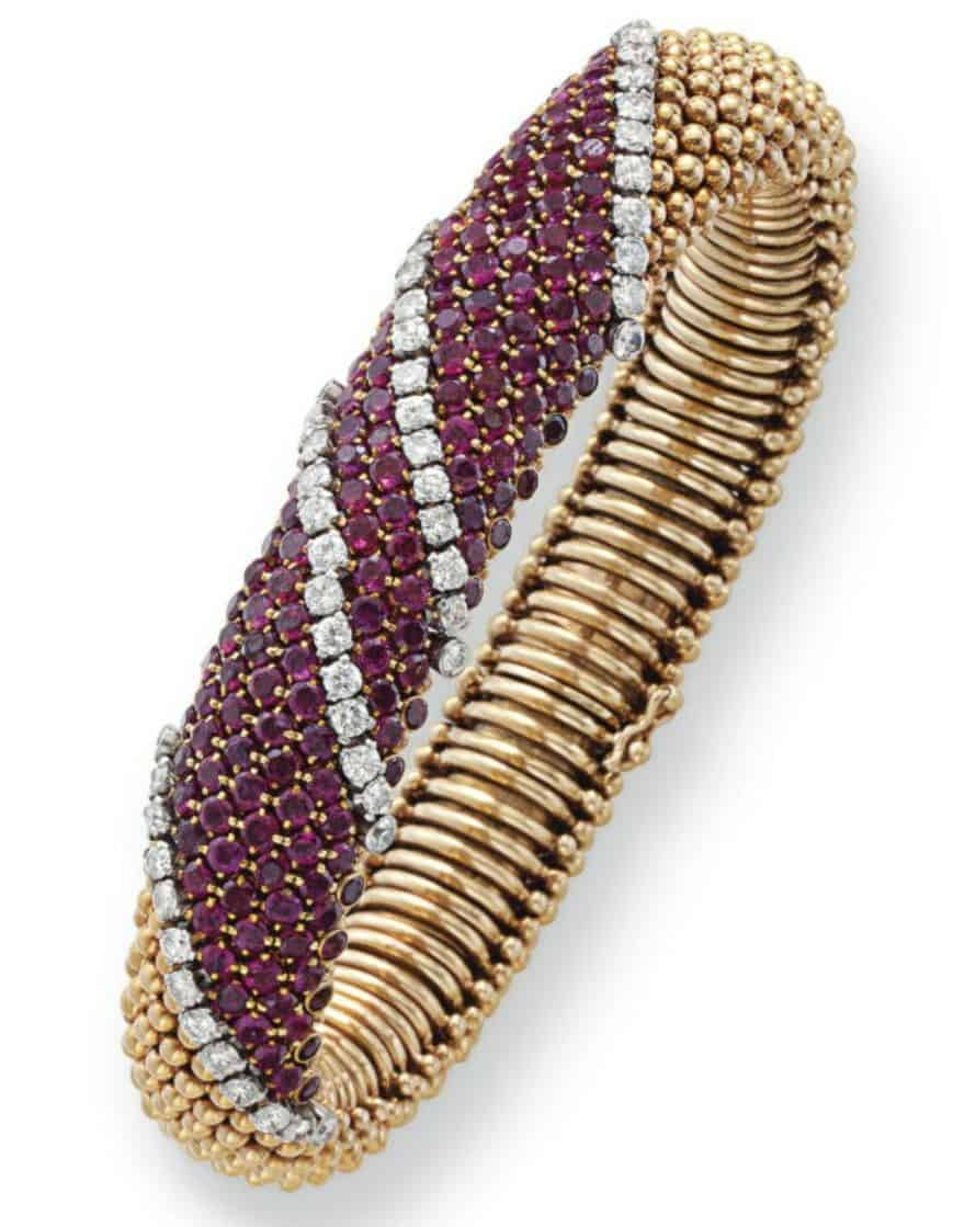 Lot 147  Ruby, Diamond and Gold Bracelet by Van  Cleef & Arpels