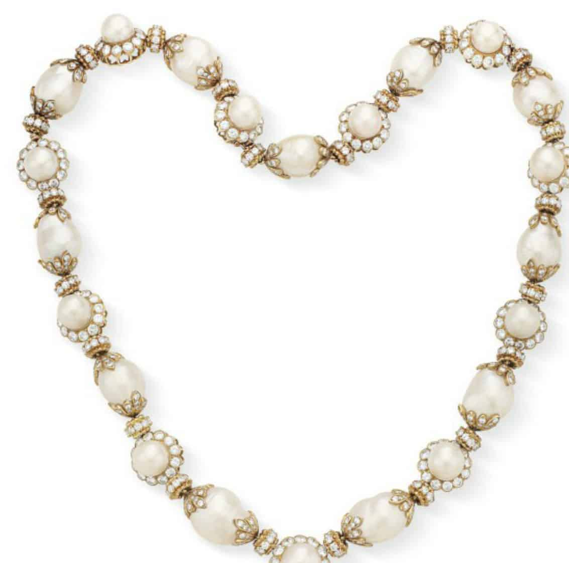 Lot 149  Neckchain of diamond and cultured pearl necklace by Van Clef & Arpels