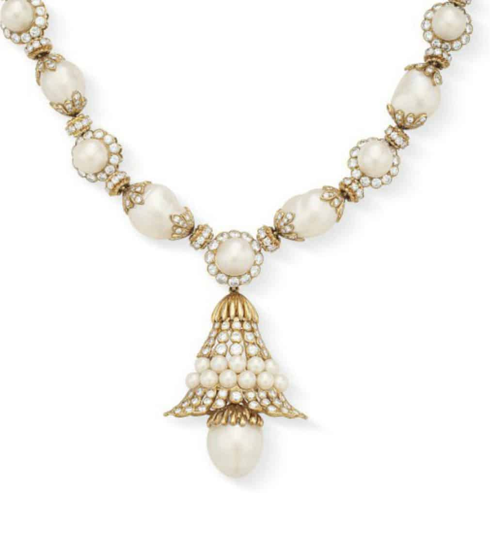 Lot 149 - Detachable pendant of  diamond and cultured pearl necklace by Van Cleef    & Arpels