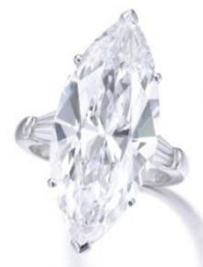 Lot 469 - 16.37-carat, D-Color, marquise-cut, Internally Flawless diamond ring
