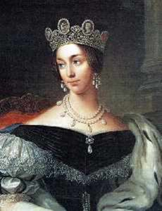 Queen Josephine of  Sweden and Norway wearing the double row natural pearl necklace with seven pear-shaped pearl drops