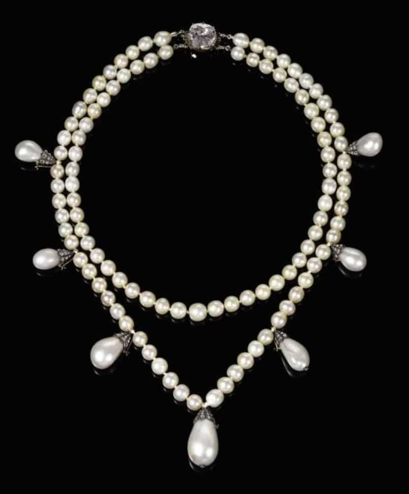 Lot 431 - Queen Josephine's Pearl Necklace -  A magnificent  natural pearl and diamond necklace