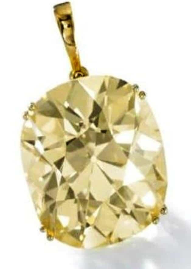Lot 429 - Impressive Fancy Yellow Diamond Pendant by Gubelin
