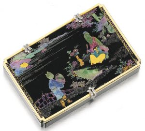 Lot 446 - Nephrite, Lacquer, Tortoise Shell and Diamond Cigarette Case by Cartier,  designed 1926