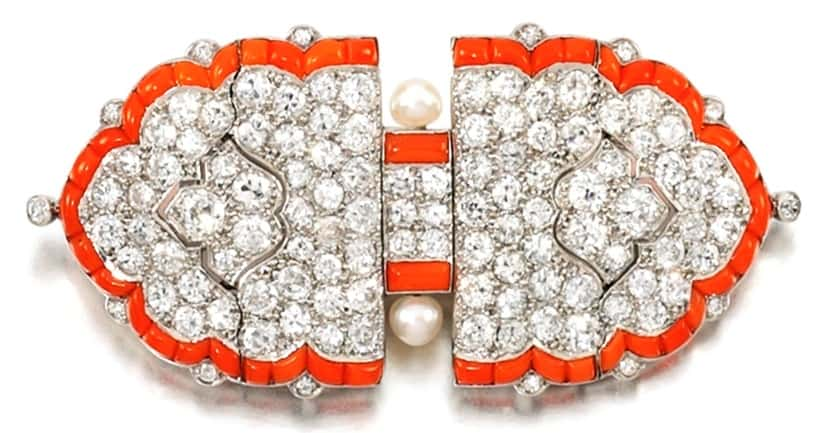 Lot 434 - Coral, Seed Pearl and Diamond Brooch/Pendant by Cartier, circa 1922