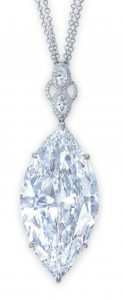 Lot 2060 - 50.62-carat, marquise-cut, D-color, VVS2-clarity diamond with stylized surmount, suspended   from a double-strand chain