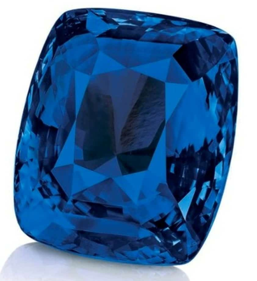 392.52-carat, cushion-cut  Blue Belle of Asia sapphire dismounted from its necklace setting