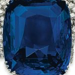 "Enlarged image of the cushion-cut, 392.52-carat, ""Blue Belle of Asia"" sapphire"
