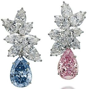 Lot 392 - Pair of colored diamond and diamond ear-pendants by Bulgari