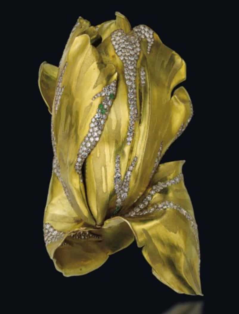 "Gold, Diamond and Green Garnet ""Parrot Tulip"" Flower Bangle by JAR"