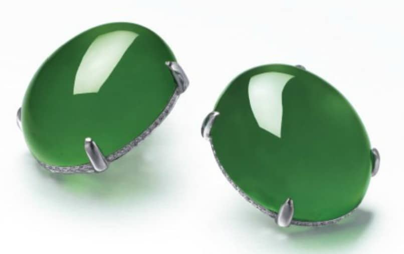 Lot 2078 - A Magnificent Pair of Jadeite and Diamond Ear Studs