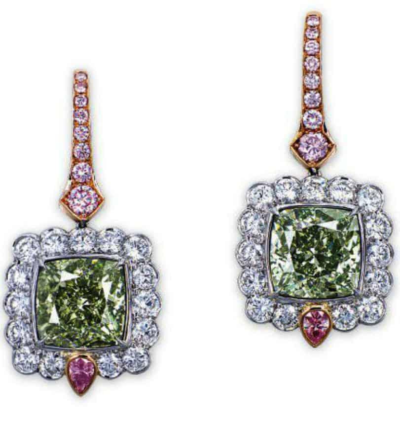 Lot 2100 - A Rare Pair of Colored Diamond and Diamond Ear Pendants