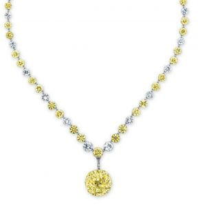 Lot 2097 - Belle Epoque Colored Diamond and Diamond Pendant Necklace
