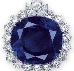 Lot 2062 - 101.32-carat cushion-cut Ceylon blue sapphire in a pendant setting
