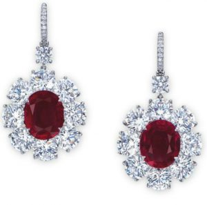 Lot 2067 - A Superb Pair of Ruby and Diamond Ear Pendants