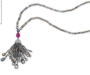 Lot 2090 - An Exquisite Natural Colored Pearl, Ruby and Diamond Pendant Necklace