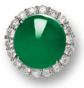 Lot 1412 - A Fine Jadeite and Diamond Ring