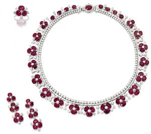 Lot 1455 = Ruby and Diamond Demi-Parure