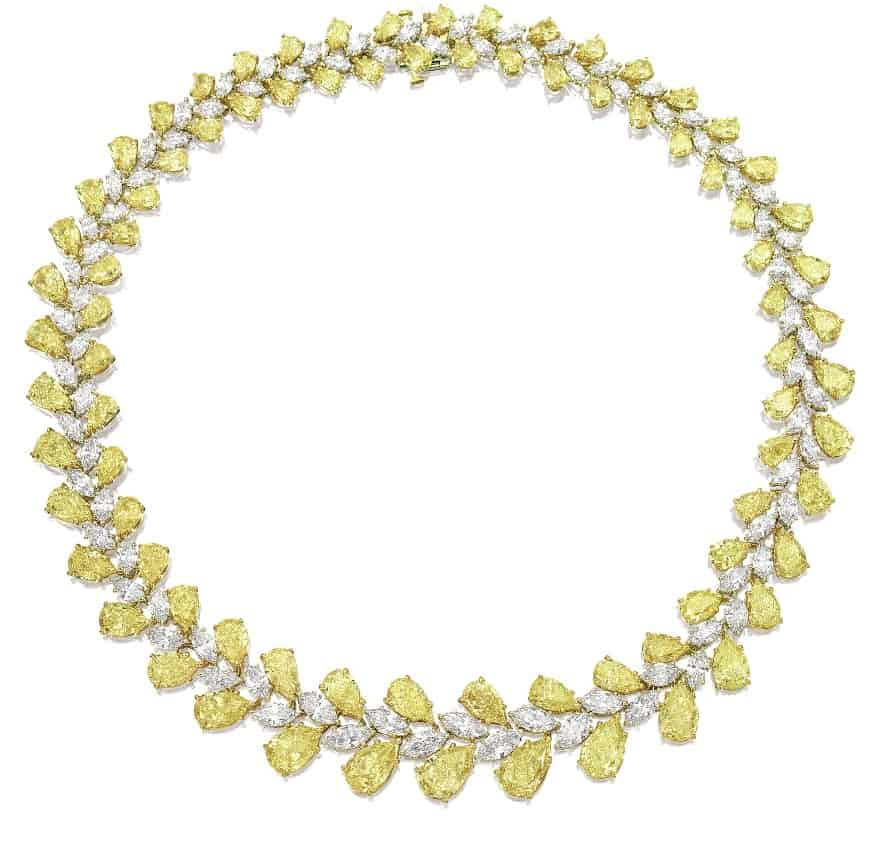 Lot 1479 - Fine Yellow Diamond And Diamond Necklace