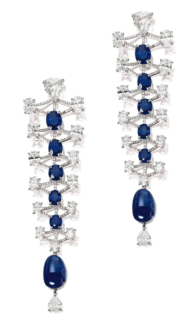 Lot 1453 - Pair of Sapphire and Diamond Pendant Earrings