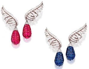 Lot 389 - Pair of Platinum, Diamond And Mystery-Set Colored Stone Pendant Ear-clips by Van Cleef & Arpels