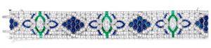 Lot 394 - Platinum, Diamond, Sapphire And Emerald Bracelet by Oscar Heyman & Bros