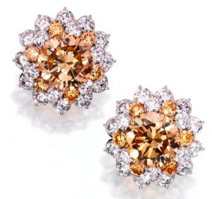 Lot 388 - Pair of Platinum, 18k-Gold, Colored Diamond And Diamond Ear Clips