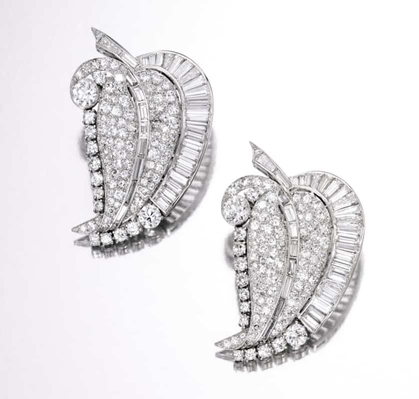 Lot 369 - Pair of Platinum and Diamond Clip Brooches