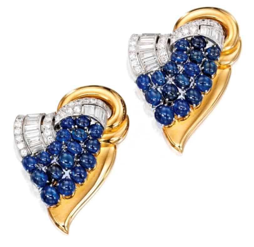 Lot 381 -  A  Pair of 18k-Gold, Platinum, Diamond and Sapphire Clip Brooches