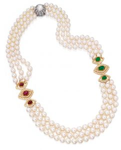 Lot 356 - An 18k Two-Color Gold, Cultured Pearl, Colored Stone And Diamond Necklace