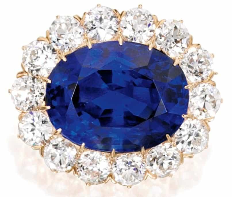 Lot - 18k-Gold, Sapphire And Diamond Pendant-Brooch, Tiffany & Co