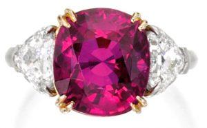 Lot 132 - Platinum, 18k-Gold, Ruby And Diamond Ring