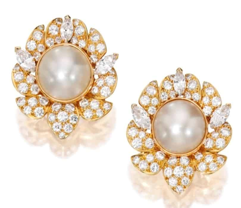 Lot 134 - A Pair of 18k-Gold, Natural Pearl And Diamond Ear Clips designed by Van Cleef & Arpels