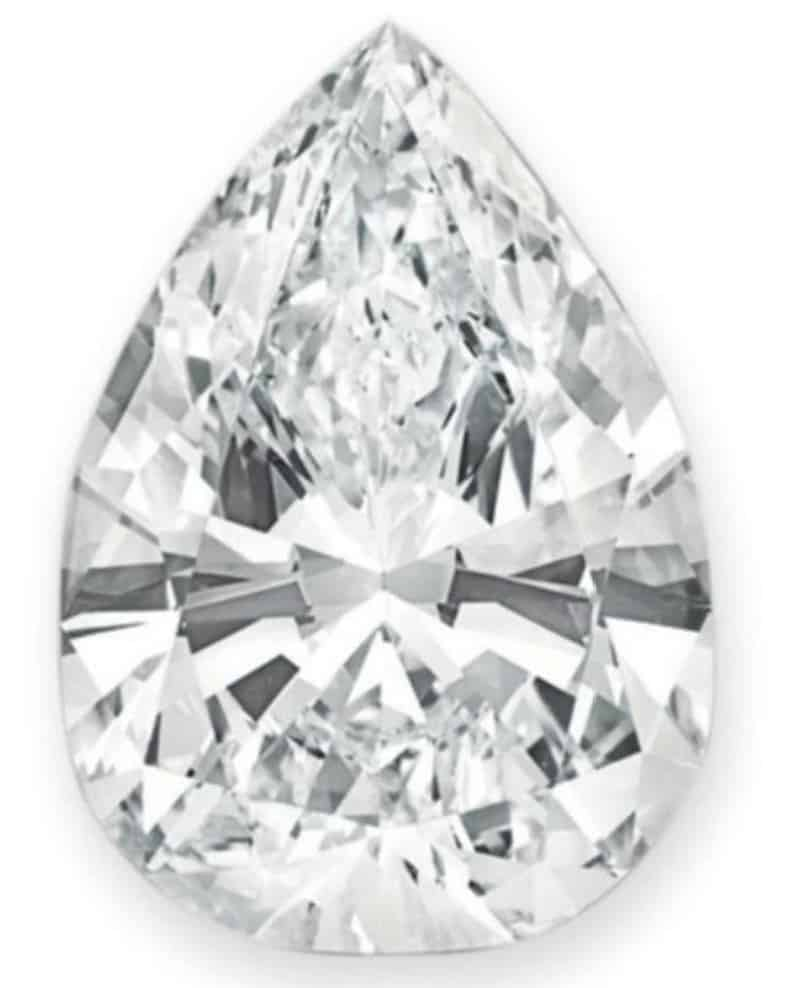 Lot 323 - 89.23-carat, D-color, VVS1-carity, pear-shaped diamond